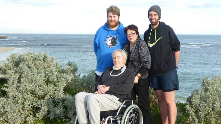 Geoff Woodrow with wife Michelle and sons, Chris (left) and Daniel.