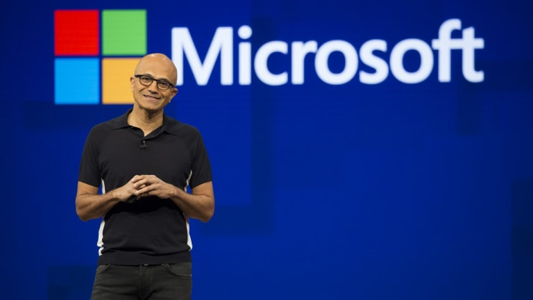 Satya Nadella, chief executive officer of Microsoft, at the company's Build Conference.