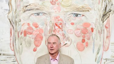 Michael Buxton in front of Tim McMonagle's artwork: Michael Buxton – Archibald Portrait, 2012 (oil on linen, 163cm X 163cm, courtesy of the artist).