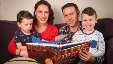 Laura McGeoch and husband Mike Billings (pictured here with their children Alfie, 5, and Max, 2) are two of the thousands of Australians with substantial retirement savings stuck in British pensions.