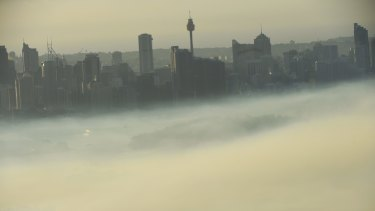 Heavy smog over Sydney last October.