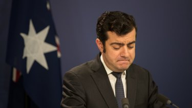 Sam Dastyari announces his resignation from the Senate at a press conference in Sydney.