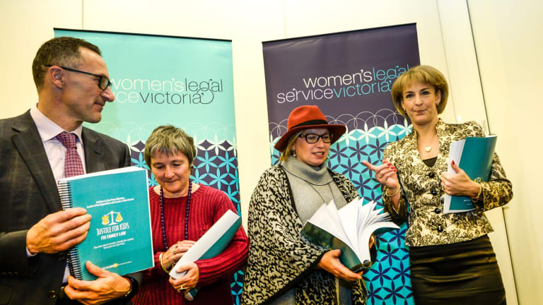 Rosie Batty with the Minister for Women Michaelia Cash (right), Shadow Minister for Women Clare Moore and Greens leader Richard Di Natale with the petition.