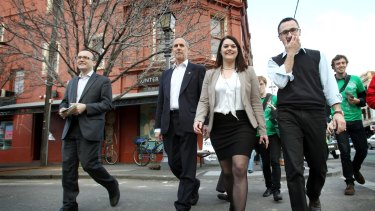 Greens rally in Fitzroy in July 2016 ahead of Saturday's Federal election- Bob Brown, Sarah Hanson Young, Adam Bandt (for Melbourne, left) and Richard di Natale.