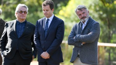 Filmmaker George Miller, Heritage Minister Mark Speakman and actor Sam Neill at the Tropfest announcement.