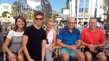 The <i>Sunrise</i> team in 2014, visiting Universal Studios: Natalie Barr, executive producer Michael Pell, Samantha Armytage, David Koch and Mark Beretta.