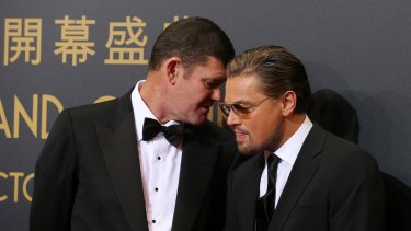 James Packer with Leonardo DiCaprio: Crown completed the sale of its stake in Melco Crown last month, and Mr Packer sold out of his Hollywood movie production business, Ratpac, earlier this year.