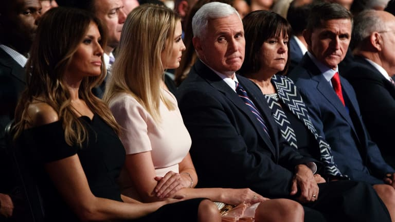 Melania Trump, Ivanka Trump, Mike Pence, Karen Pence and Michael Flynn at the first presidential debate in September.