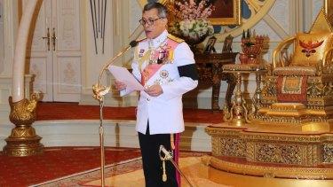 Thai King Maha Vajiralongkorn speaks after accepting the throne at the Dusit Palace in Bangkok.