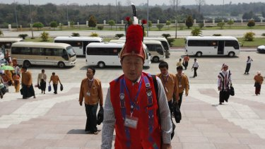 An ethnic Naga lawmaker of the National League for Democracy party arrives at parliament on Monday.