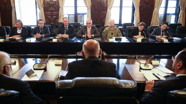 Australian Ambassafor to Afghanistan Matt Anderson (3rd from left), Prime Minister Malcolm Turnbull and Chief of the Defence Force Air Marshal Mark Binskin (3rd from right) during a meeting with the President of Afghanistan Ashraf Ghani.