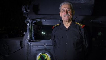 Iraqi Counter-Terrorism Commander Lieutenant-General Abdul Ghani al-Asadi at a base outside Athba in northern Iraq.