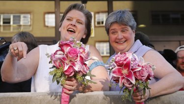 Just married: Mary Bishop and Sharon Baldwin were the lead plaintiffs who challenged Oklahoma's ban.