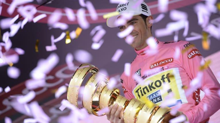 Tinkoff-Saxo rider Alberto Contador celebrates his second     Giro d'Italia win.