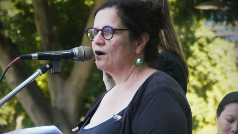 Jenna Price speaks at the International Women's Day march in 2016.