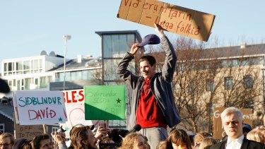 Protesters in Reykjavik.