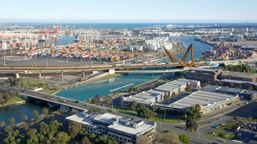 An artist's impression of the Western Distributor tollway as it crosses the Maribyrnong River.