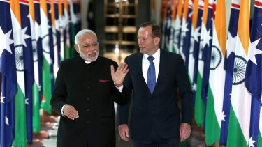 Narendra Modi and Tony Abbott during Mr Modi's visit earlier this month.