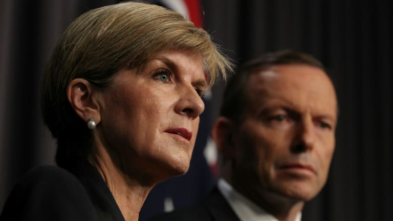 Foreign Affairs Minister Julie Bishop and Prime Minister Tony Abbott pictured addressing the media after the executions of Andrew Chan and Myuran Sukumaran early on Wednesday morning.