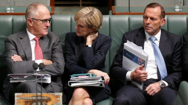 Communications Minister Malcolm Turnbull, Foreign Affairs Minister Julie Bishop and Prime Minister Tony Abbott later in question time.