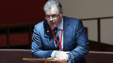 Senator Rod Culleton speaks in the Senate on the issue of his eligibility to serve.