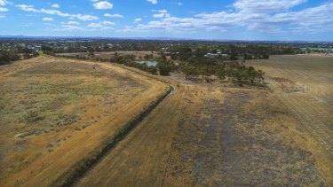 An aerial view of the four hectares where radioactive carcasses are buried in Werribee.