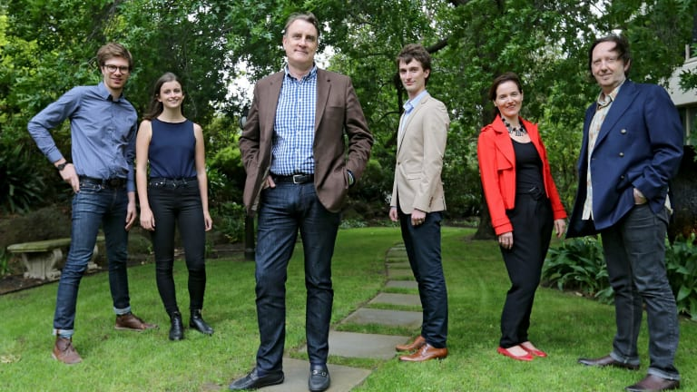 Crowd source developer and entrepreneur  Karl Mattingly (centre) with his team Stephany Ponsonby, Nick Williams, Sam Dentry, Liza Schultz and John Carver.