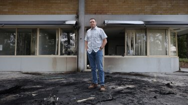 Australian Christian Lobby managing director Lyle Shelton outside the bombed headquarters.