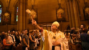 Reverend Anthony Fisher, Archbishop of Sydney, at St Mary's Cathedral on Easter Sunday.