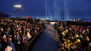 The dawn service ceremony at Anzac Cove in Gallipoli this year.