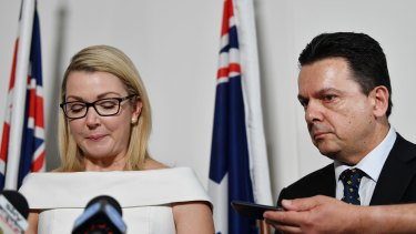 A tearful Skye Kakoschke-Moore announces her resignation alongside party leader Nick Xenophon.