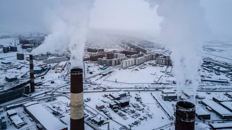 The heat and power plant in Norilsk, Russia,  a former slave labour camp in north-east Siberia.