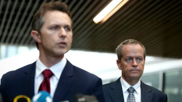 Shadow Trade Minister Jason Clare with Opposition Leader Bill Shorten.