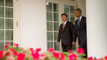 US President Barack Obama and Chinese President Xi Jinping in the White House during Mr Xi's visit.