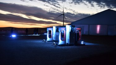 A Tesla car charging station at the wind and solar battery plant outside Jamestown, South Australia.