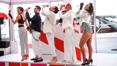 Champagne for all inside the Mumm marquee.