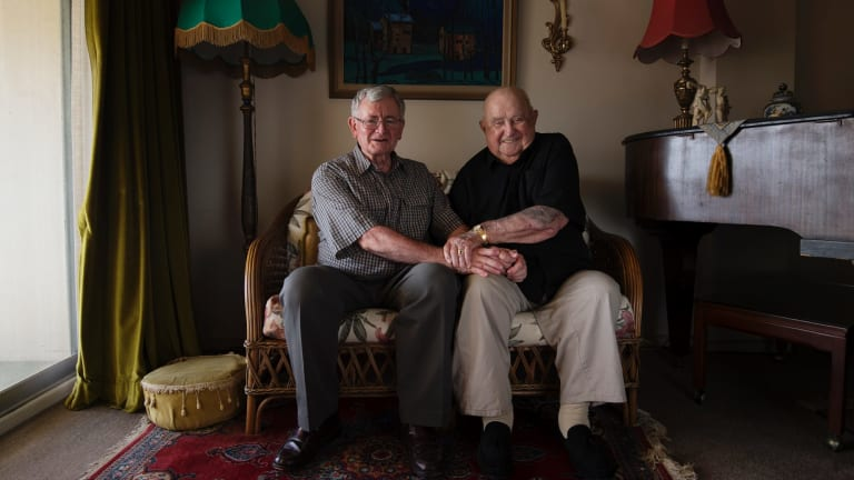 Ian Fenwicke, 74, with his partner Neville Wills, 98, in their Greenwich home.
