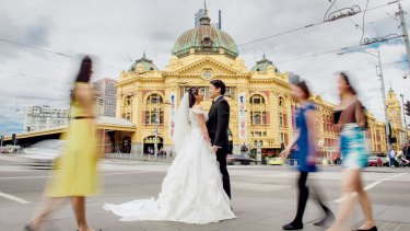 Flinders Street Station is a popular location for pre-wedding photos.