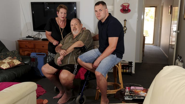 Canberra boxer Ben Edwards with his parents, June and Ray, at their Charnwood home.