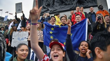 Pro-EU protesters in London on Tuesday.