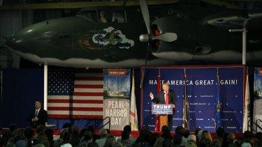 Donald Trump speaks on board the USS Yorktown.