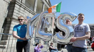 """""""Yes"""": Supporters of same-sex marriage in Dublin on Saturday."""