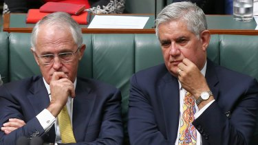 Aged Care Minister Ken Wyatt with Prime Minister Malcolm Turnbull in Parliament.