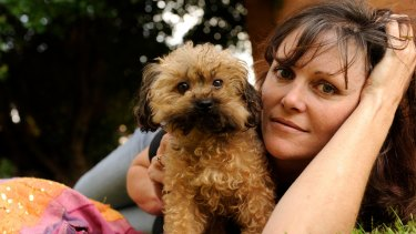 Oscar's Law founder Debra Tranter with five-year-old Oscar, who she rescued from a puppy farm.