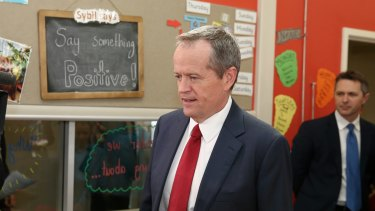 Bill Shorten during a visit to a school in Canberra.