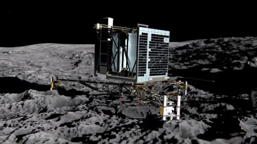 Artist's impression of Rosetta's lander Philae on the surface of comet 67P/Churyumov-Gerasimenko.