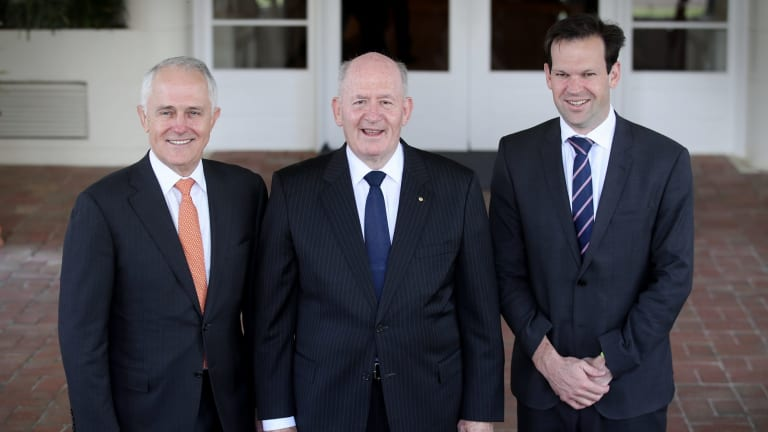 Prime Minister Malcom Turnbull with the Governor-General, Sir Peter Cosgrove, and Resources Minister Matt Canavan on Friday.