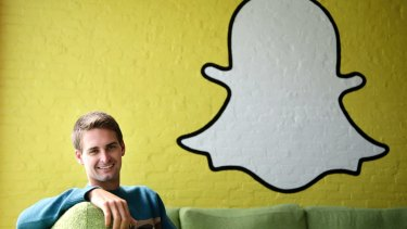 Snapchat co-founder Evan Spiegel, with the company's logo. The Venice, California, start-up relies on advertising to users who watch videos compiled by its staff and those from media brands.