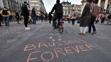 """""""Brussels forever"""" at the Place de la Bourse in the centre of Brussels."""