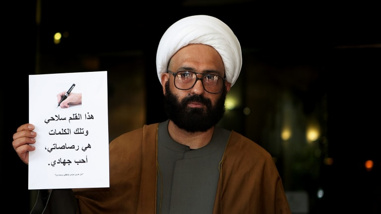 Lindt cafe gunman Man Haron Monis, pictured in 2010 - four years before the siege, was praised by the Islamic State publication Rumiyah.